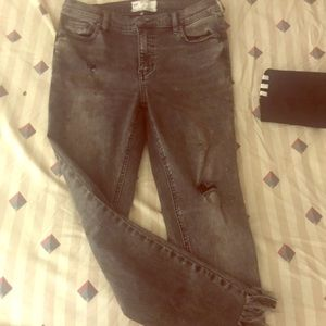Black/Dark Grey Free People Jeans cutoff ankles